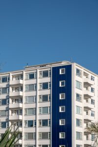 Block of flats with blue sky: Eastbourne